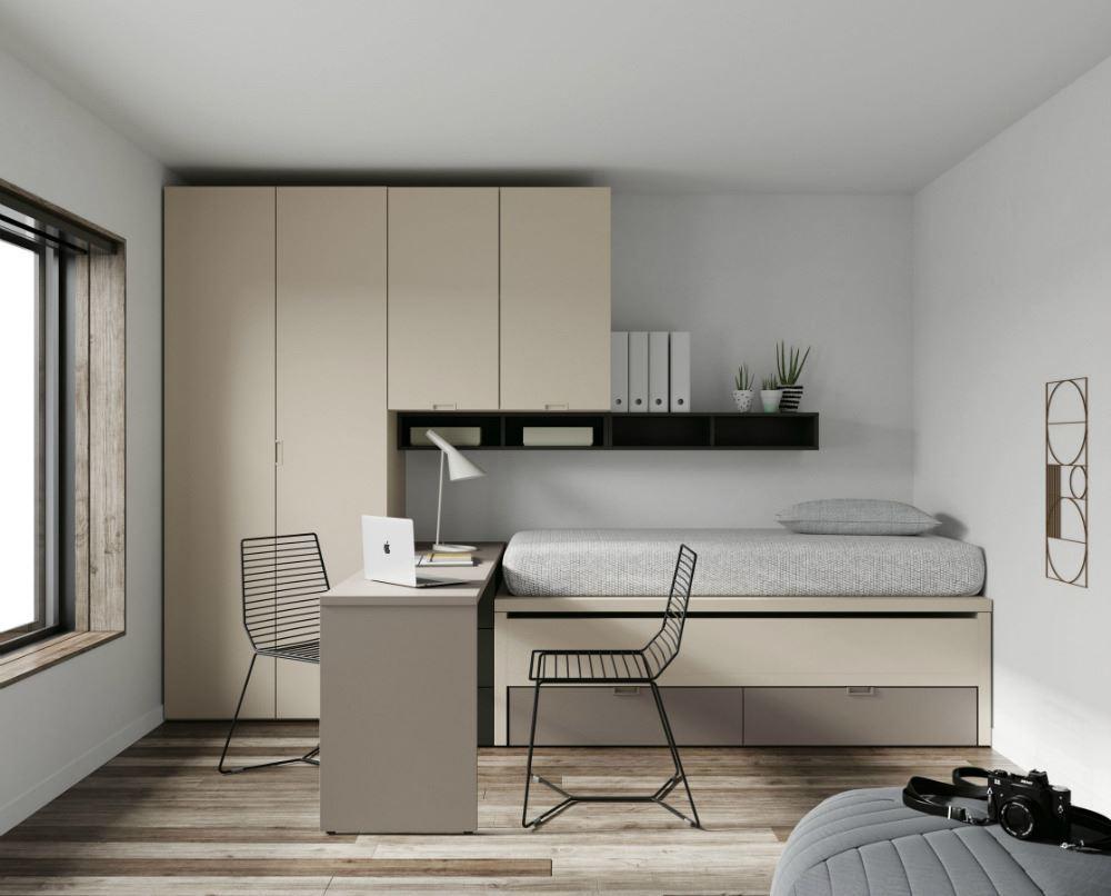 Cama compacta con cajones zona de estudio y armario - Cama compacta con cajones ...